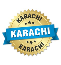 Karachi round golden badge with blue ribbon vector