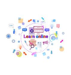 Learn online banner internet education elearning vector