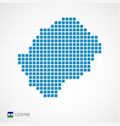 Lesotho map and flag icon vector