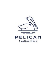 line art pelican bird logo design template vector image