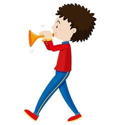 Little boy playing trumpet vector