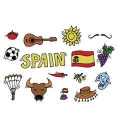 love spain doodles symbols spain vector image