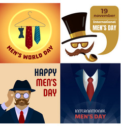 Mens day banner set cartoon style vector
