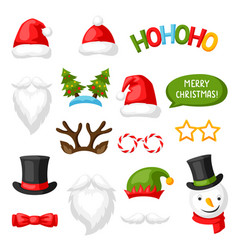 Merry christmas photo booth props vector