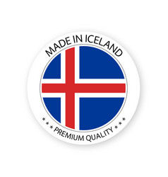 Modern made in iceland label icelandic sticker vector