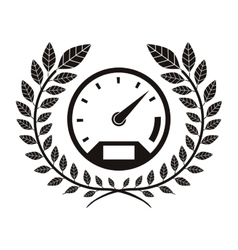 Monochrome speedometer award between olive branch vector