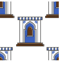 Moroccan architecture and wall ornament door vector
