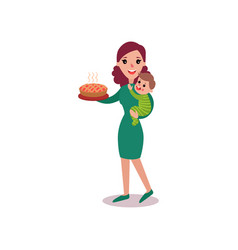 Mother holding fresh homemade pie in one arm and vector