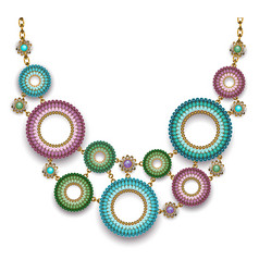Necklace with beaded rings vector