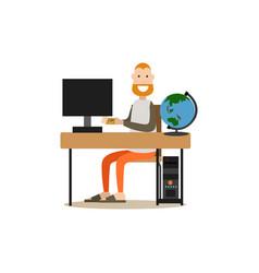 online flight booking in flat vector image