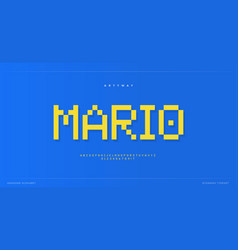 pixel alphabet retro 8-bit font type for retro vector image