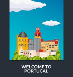 Poster travel to portugal skyline flat vector