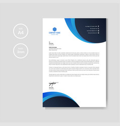 professional blue letterhead graphic template vector image