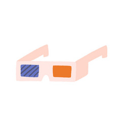 Retro-styled paper 3d glasses for movies cinema vector