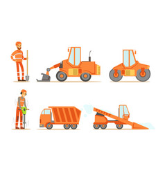 road construction workers in uniform and vector image