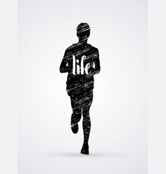 running man with my life text vector image