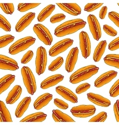 Seamless hot dog sandwiches with sauces pattern vector image