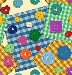 seamless pattern patchwork and buttons vector image