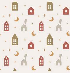 seamless pattern with cute scandinavian houses vector image