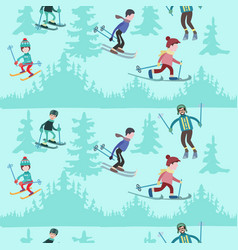 seamless pattern with people skiing in the vector image