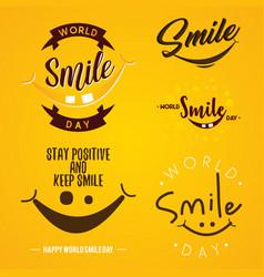 Set funny emblem design world smile day vector