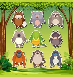 set of animal sticker vector image