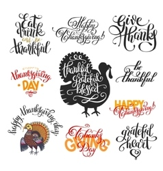 Set of hand lettering inscriptions to thanksgiving vector