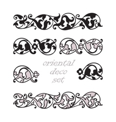 Set oriental decorative elements Zentangle black vector