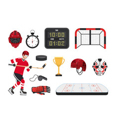 set professional hockey equipment and player vector image