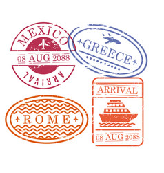 ship and airplane travel stamps in oval and vector image