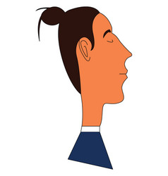 Side portrait a man with a man bun on white vector