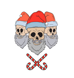 skulls with santa hats vector image