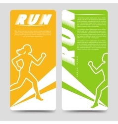 Sport brochure template with running woman vector