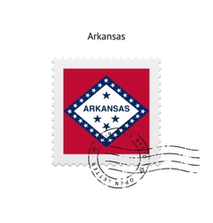 State of Arkansas flag postage stamp vector