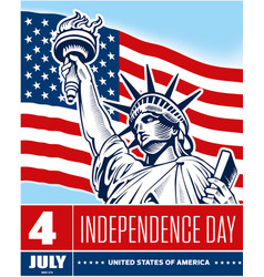statue of liberty usa flag independence day vector image