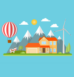 Suburban american house in the mountains vector