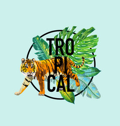 Summer tropical design with palm leaves and tigers vector