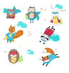 Superhero animals isolated on vector