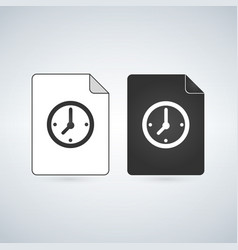 Temp document file icon withclock icon flat sign vector