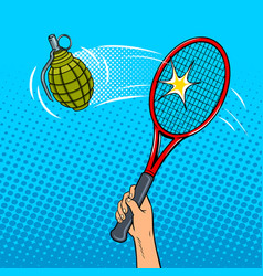 tennis racket hits a grenade pop art style vector image