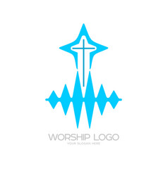 The cross of jesus and the sound waves vector