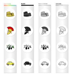 The ruins of the colosseum a roman helmet a vector