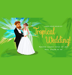 Tropical wedding invitation layout with text space vector