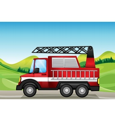 utility truck at the road near the hills vector image