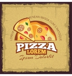 vintage poster with logo of pizzeria vector image