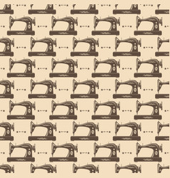 vintage sewing machine seamless pattern vector image