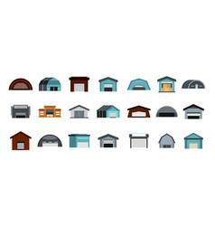 warehouse icon set flat style vector image