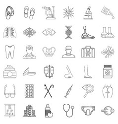 Wellness icons set outline style vector