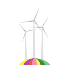 Wind mill on colorful field vector