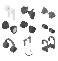 Wireless earbuds icons set isometric style vector